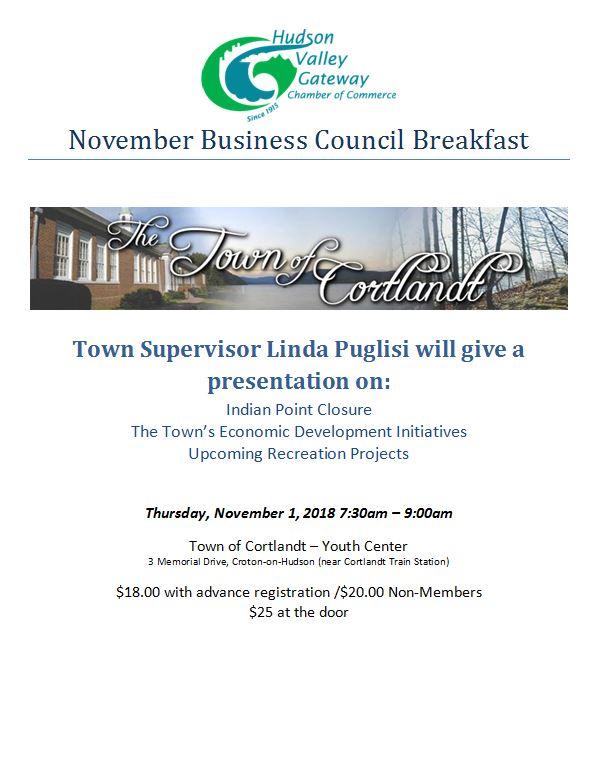 Hudson Valley Gateway Chamber Breakfast - Town of Cortlandt
